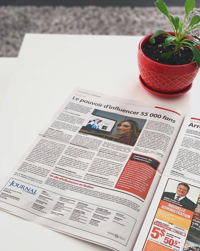 PLEINE PAGE DANS LE JOURNAL DE CHAMBLY!